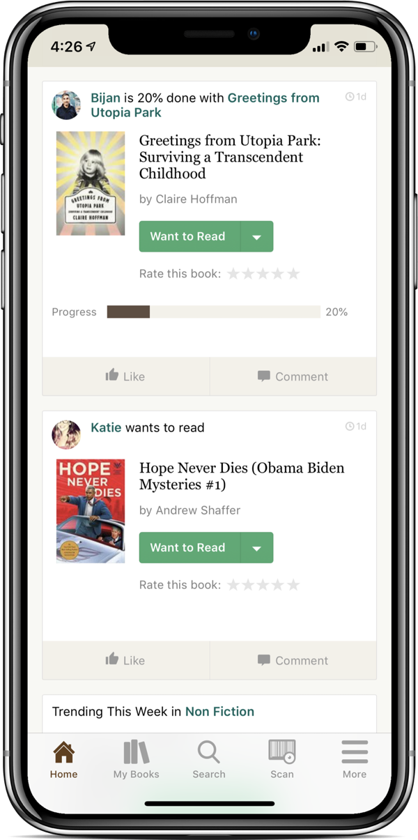 The Goodreads app, showing a feed of updates from friends