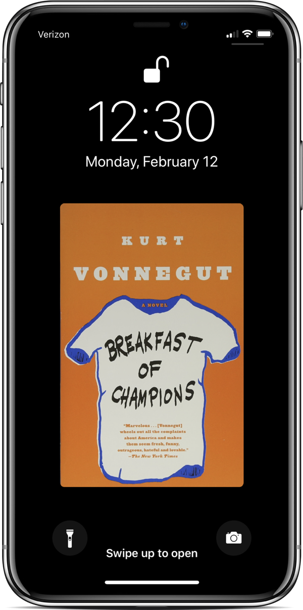 """Breakfast of Champions"" adorning my lockscreen"